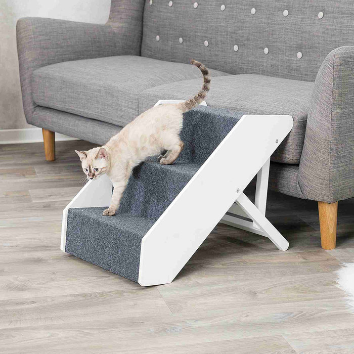 Escalera Pet, Altura Ajustable, 40 × 67 cm, Blanco