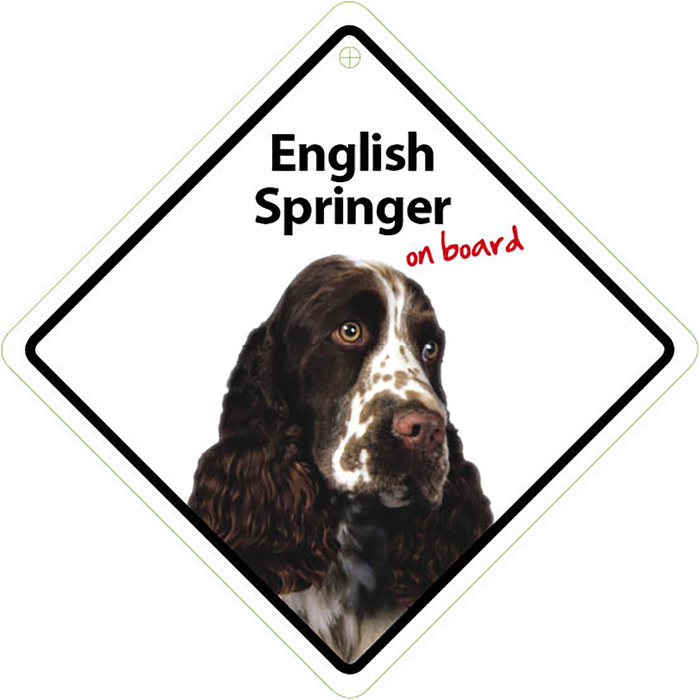 Señal con Ventosa 'English Spaniel on Board', 14 x 14 cm, MAGNET & STEEL