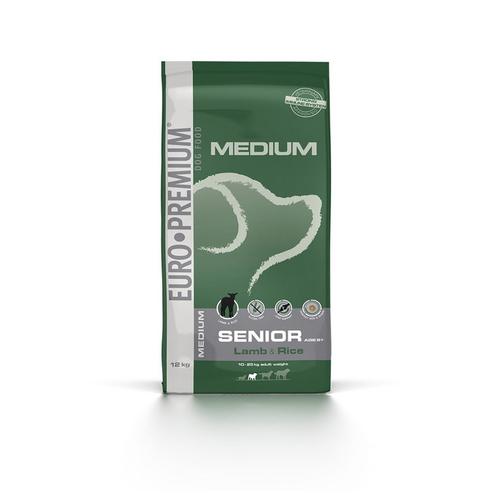 Saco Perro Medium Senior Cordero y Arroz, EUROPREMIUM, 12 kg