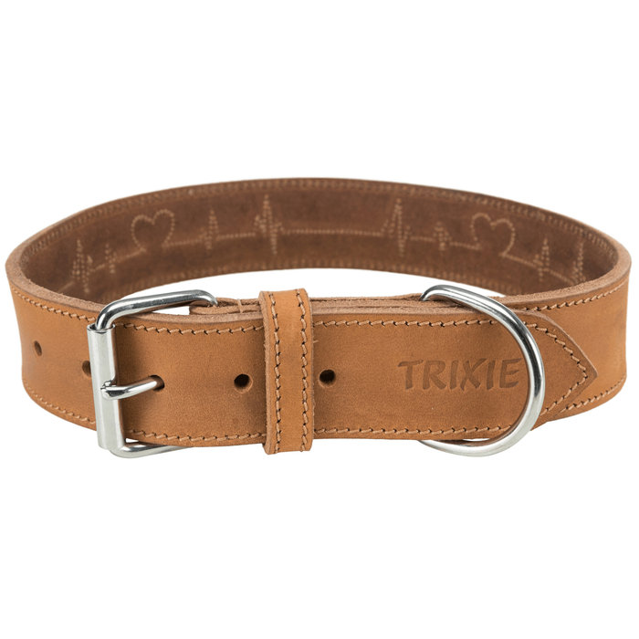Collar de Cuero Engrasado Rustic, L–XL: 55–65cm/40mm, Marrón